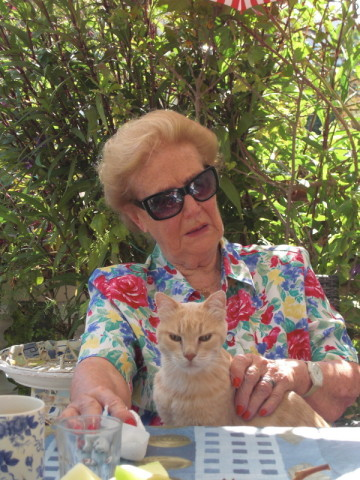 Merle with Meli the Cat on Spetses Island Greece