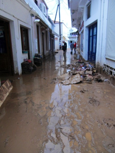 Rain and mud on the island of Spetses in Greece