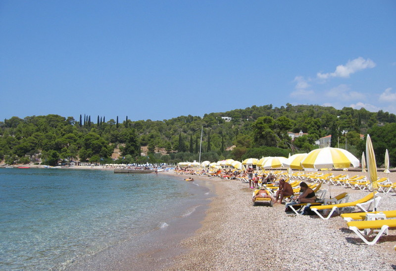 Beaches on Spetses Island Greece.